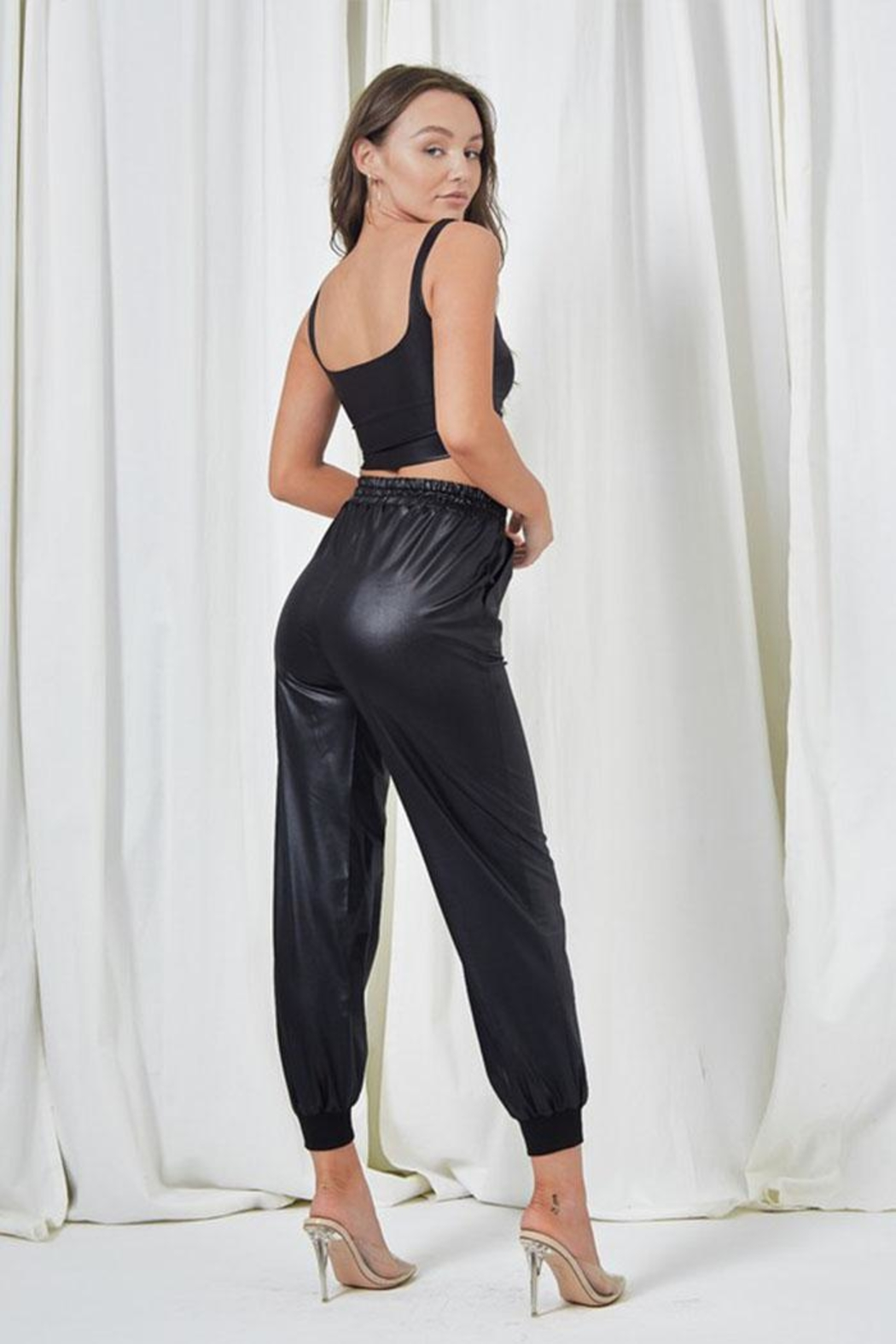 Salty Leather Jogger Pants - Back Cropped Image