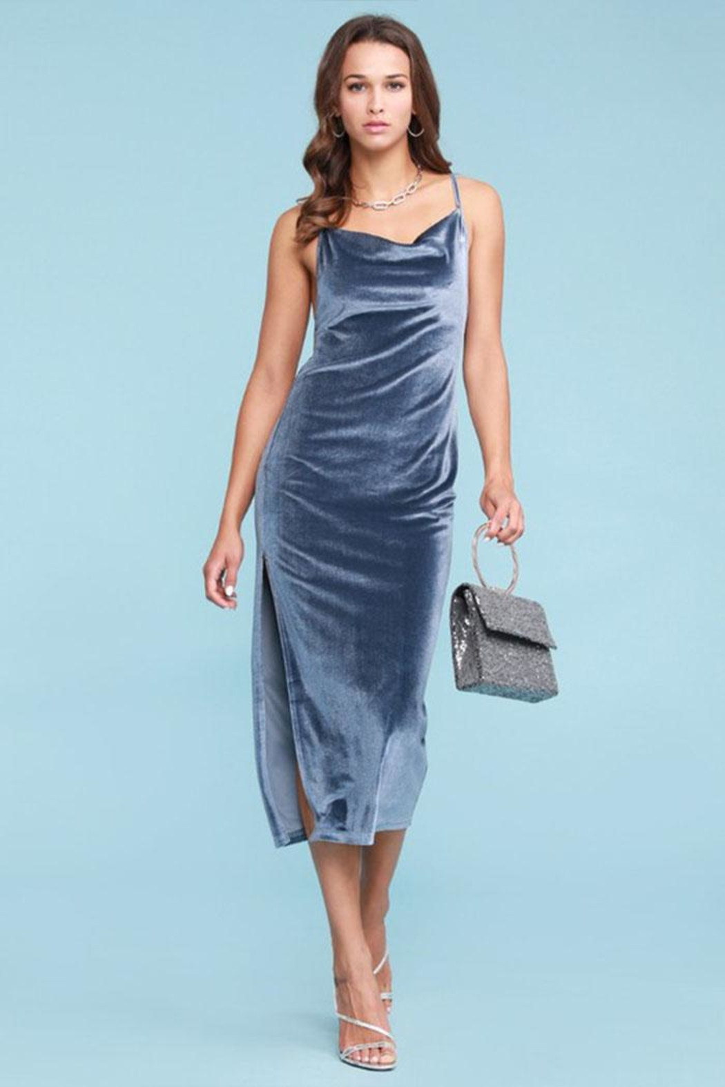 Salty Velvet Midi Dress - Main Image
