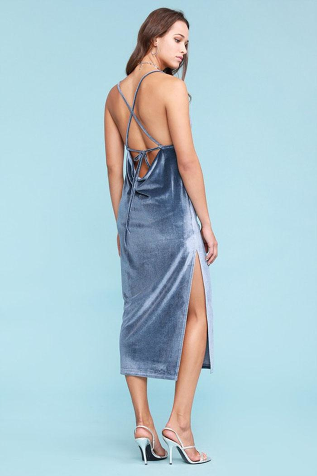 Salty Velvet Midi Dress - Side Cropped Image