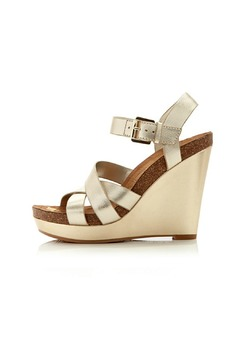 Shoptiques Product: Nelson Gold Leather Wedge