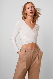 French Connection Samaya Ribbed Jersey Wrap Top - Product Mini Image