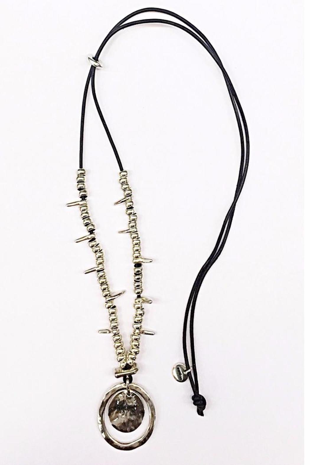 Samkas Leather Silver Plated Necklace - Main Image