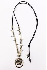 Samkas Leather Silver Plated Necklace - Front cropped