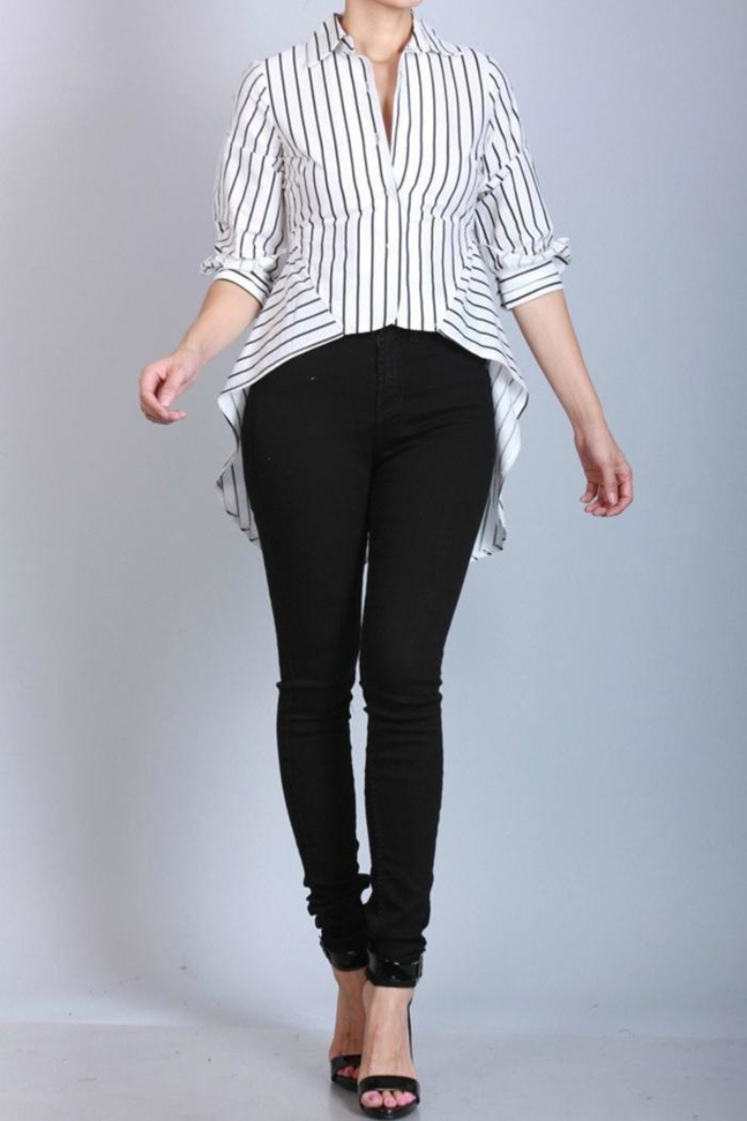 San Joy Pinstriped Hi-Low Shirt - Main Image