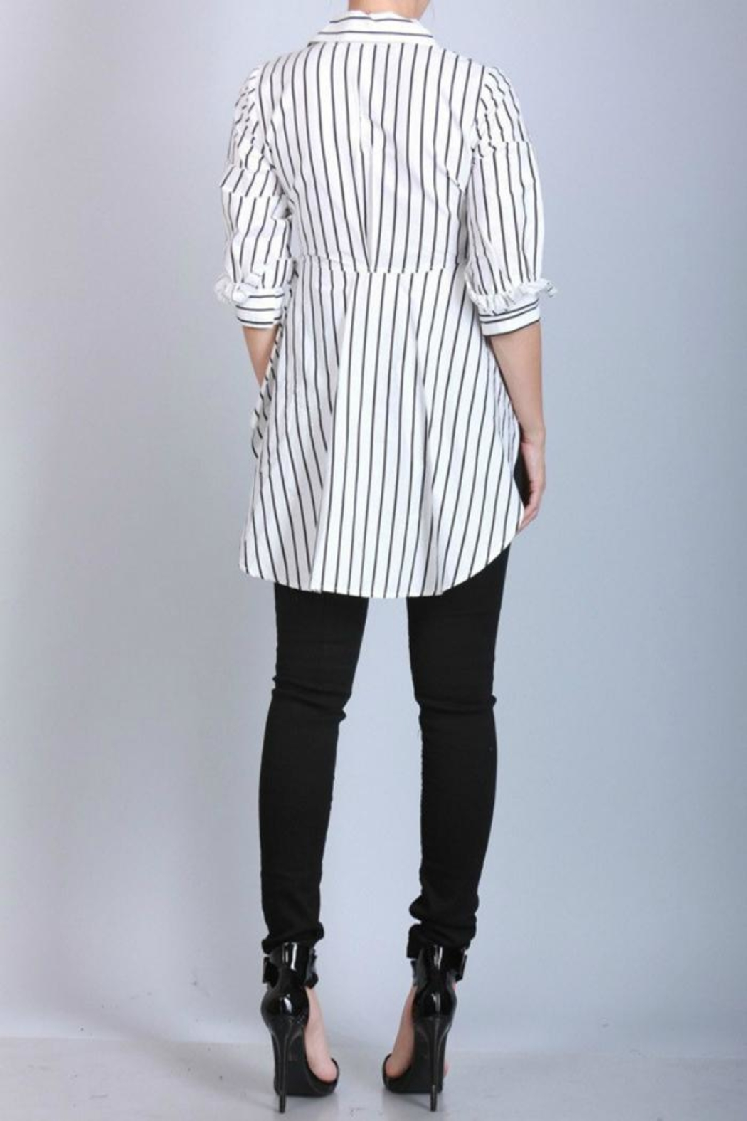 San Joy Pinstriped Hi-Low Shirt - Front Full Image