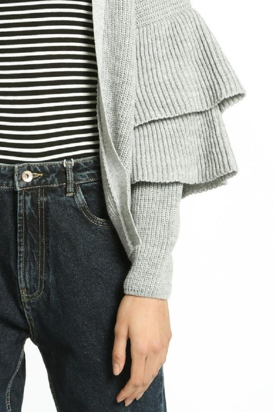 San Souci Tiered Sleeve Sweater - Back Cropped Image