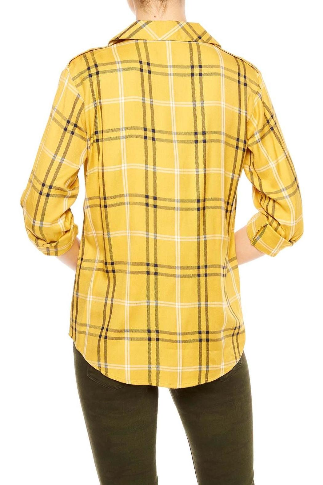 Sanctuary Mustard Plaid Shirt - Front Full Image