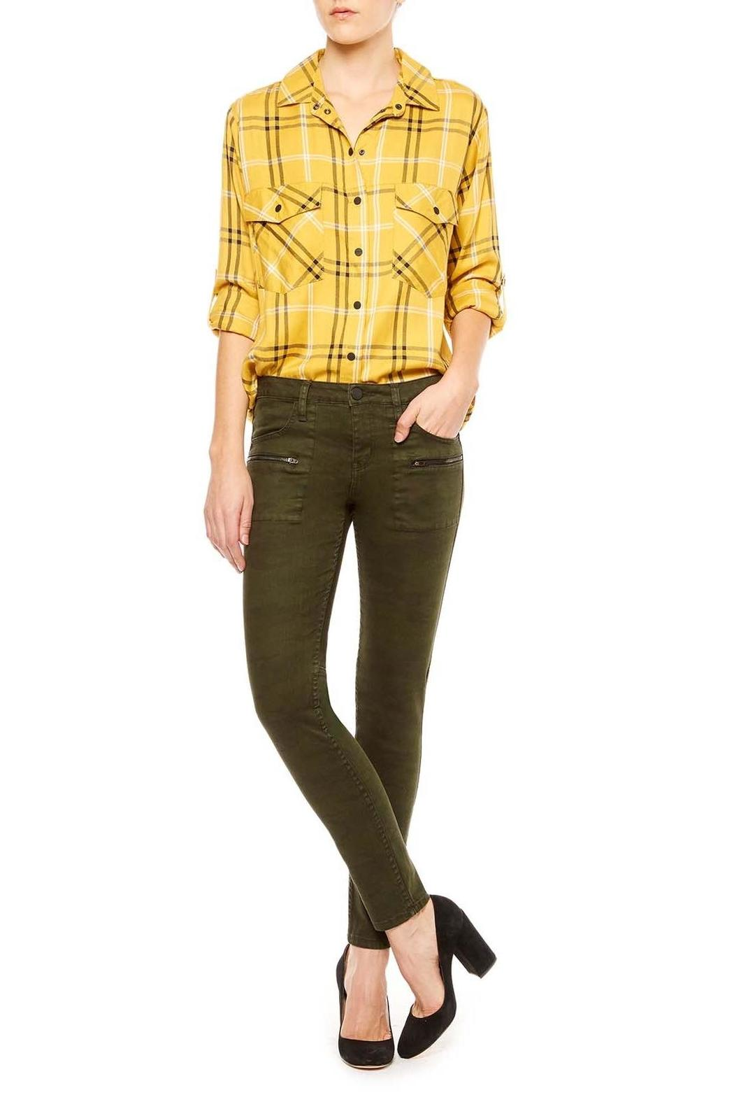 Sanctuary Mustard Plaid Shirt - Side Cropped Image