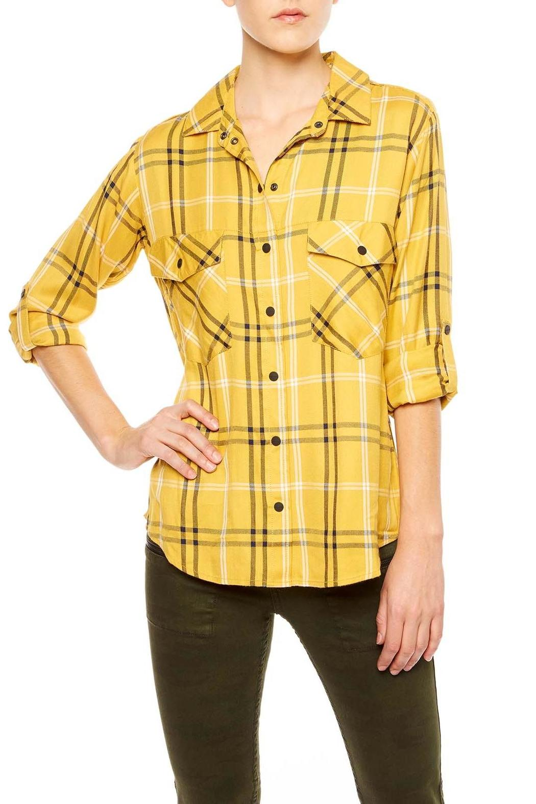 Sanctuary Mustard Plaid Shirt - Main Image