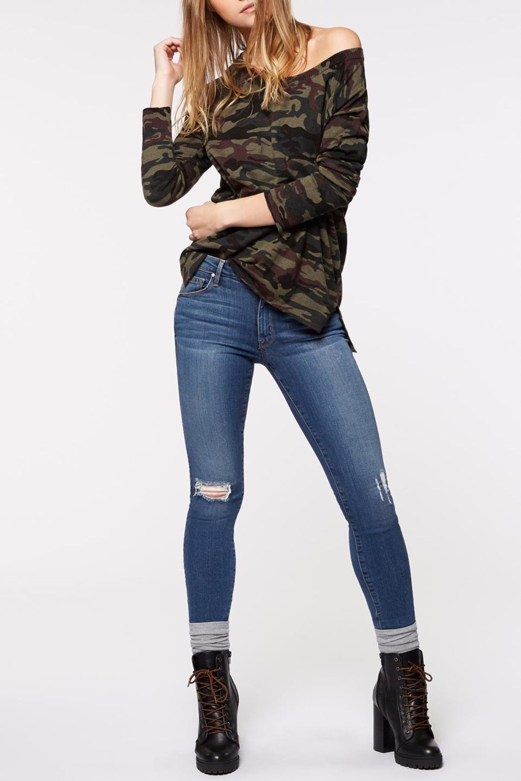 Sanctuary Renee Camo Crew Top - Front Cropped Image