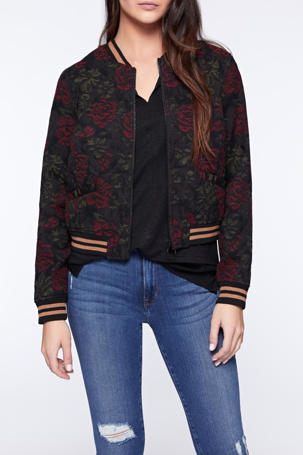 Sanctuary Rose Print Bomber - Front Cropped Image