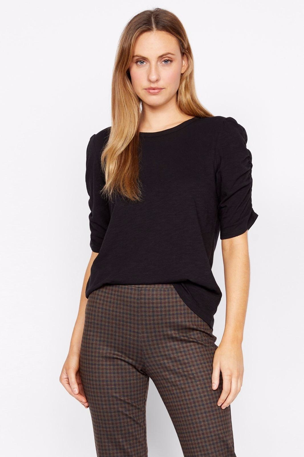 Sanctuary Ruche Sleeve Top - Back Cropped Image
