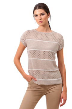 Alison Sheri Sand and White Sweater - Product List Image