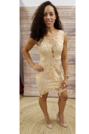 Soieblu Sand Floral Lace Dress - Product Mini Image