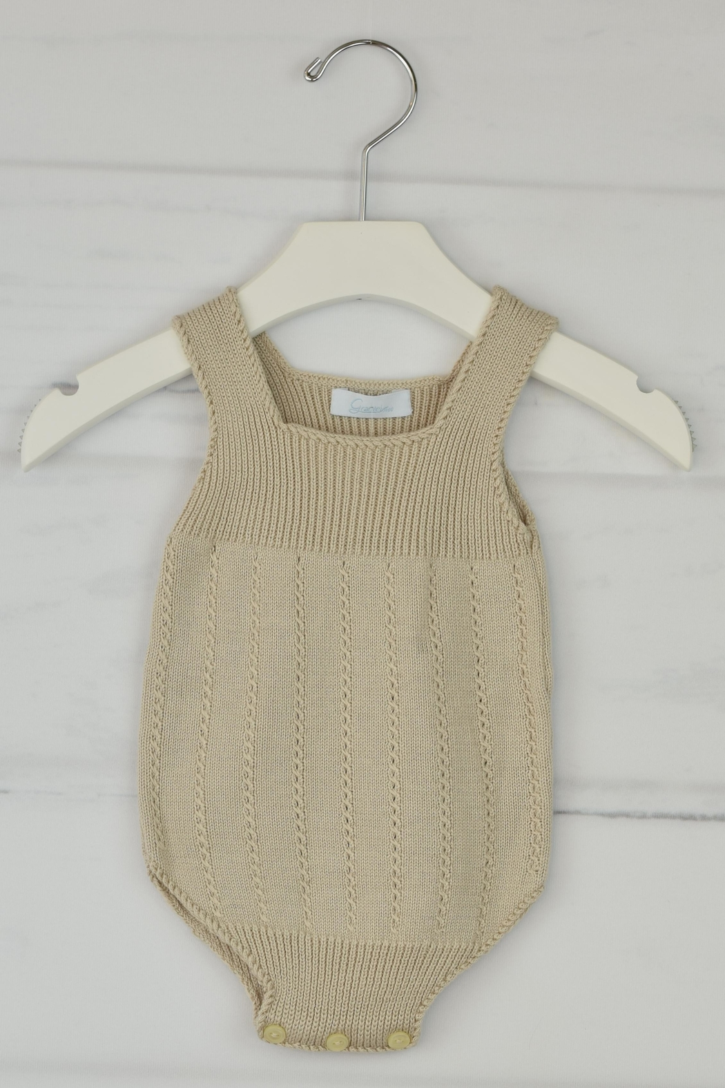 Granlei 1980 Sand Knitted Onesie - Front Cropped Image
