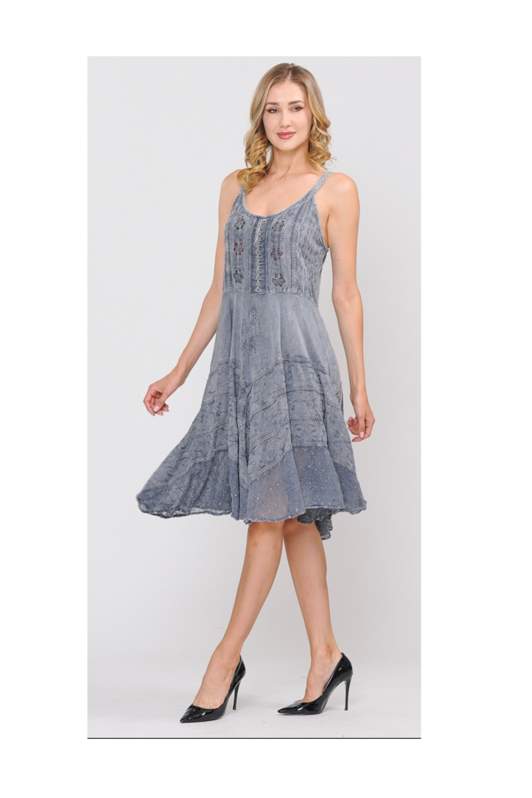 Apparel Love Sand Wash Grey Lace Front Dress - Main Image