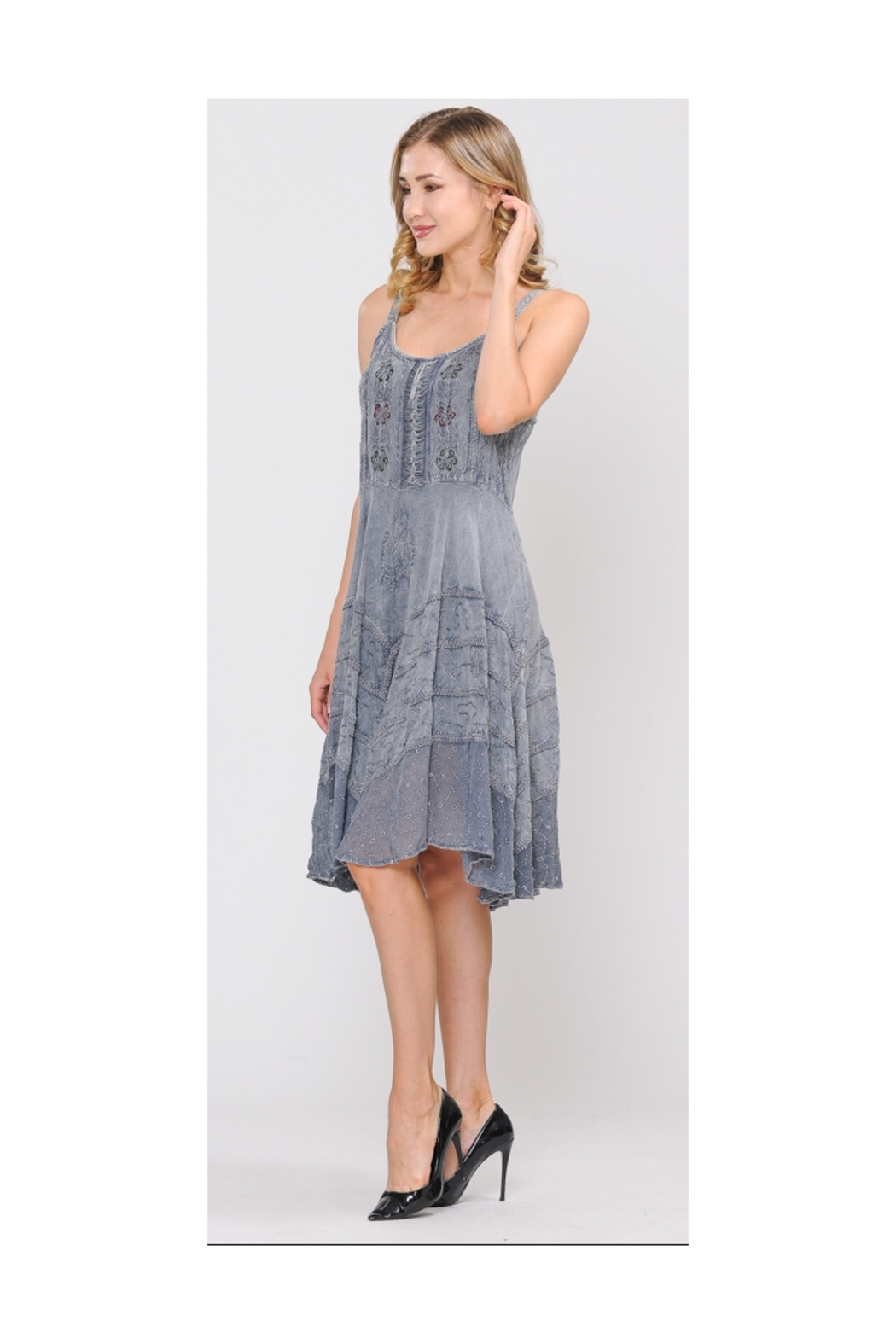 Apparel Love Sand Wash Grey Lace Front Dress - Front Full Image
