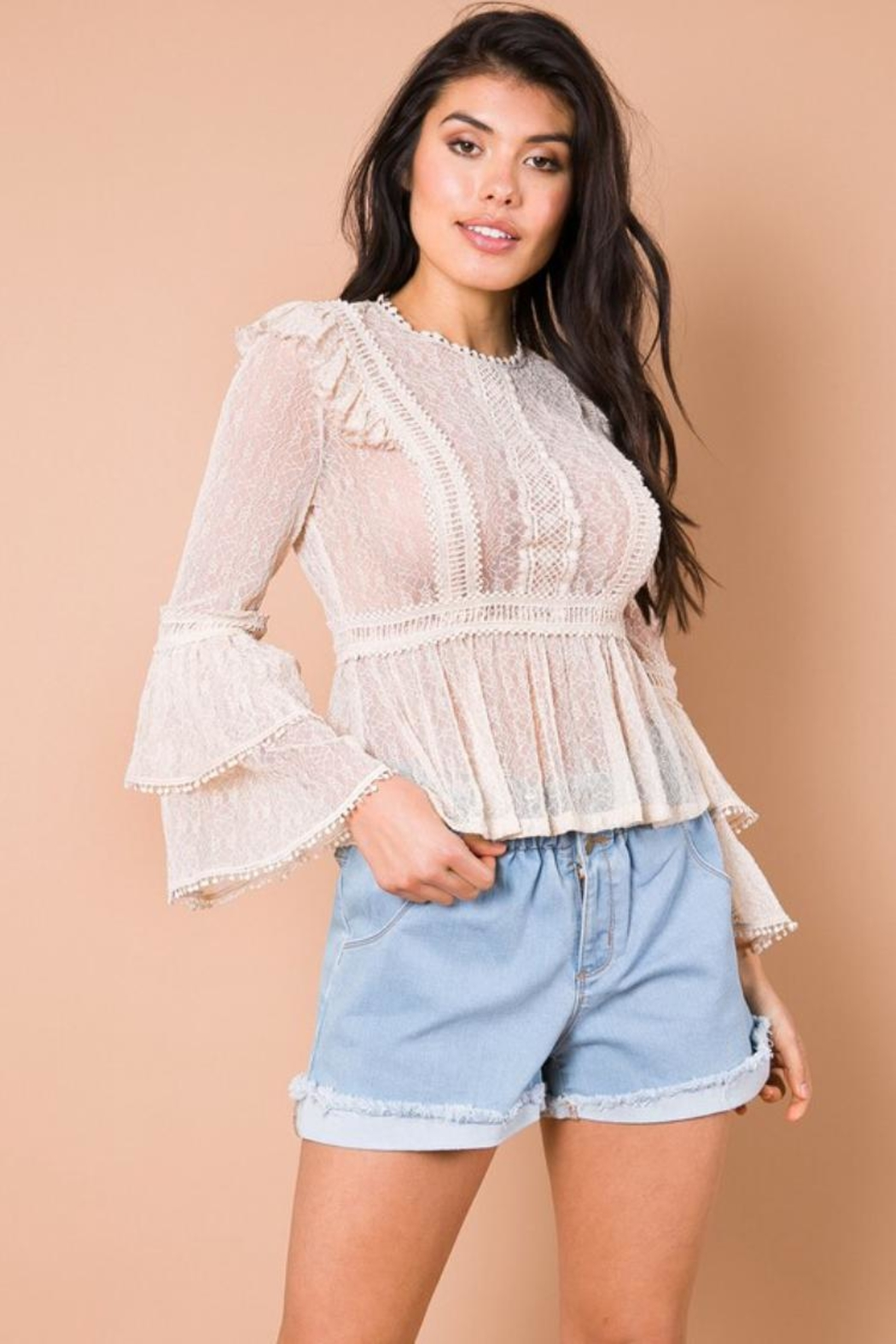 A Peach Sand Woven Top - Front Cropped Image