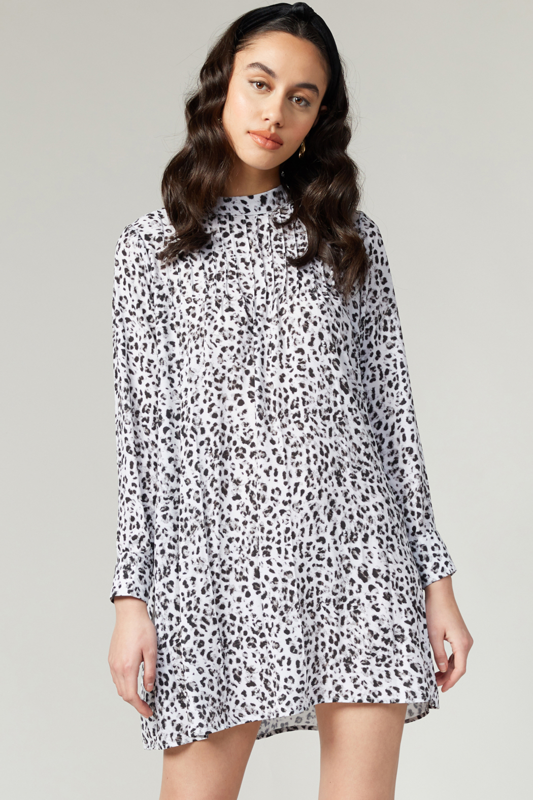 Greylin Saniya Pleated HN Leopard Dress - Front Cropped Image