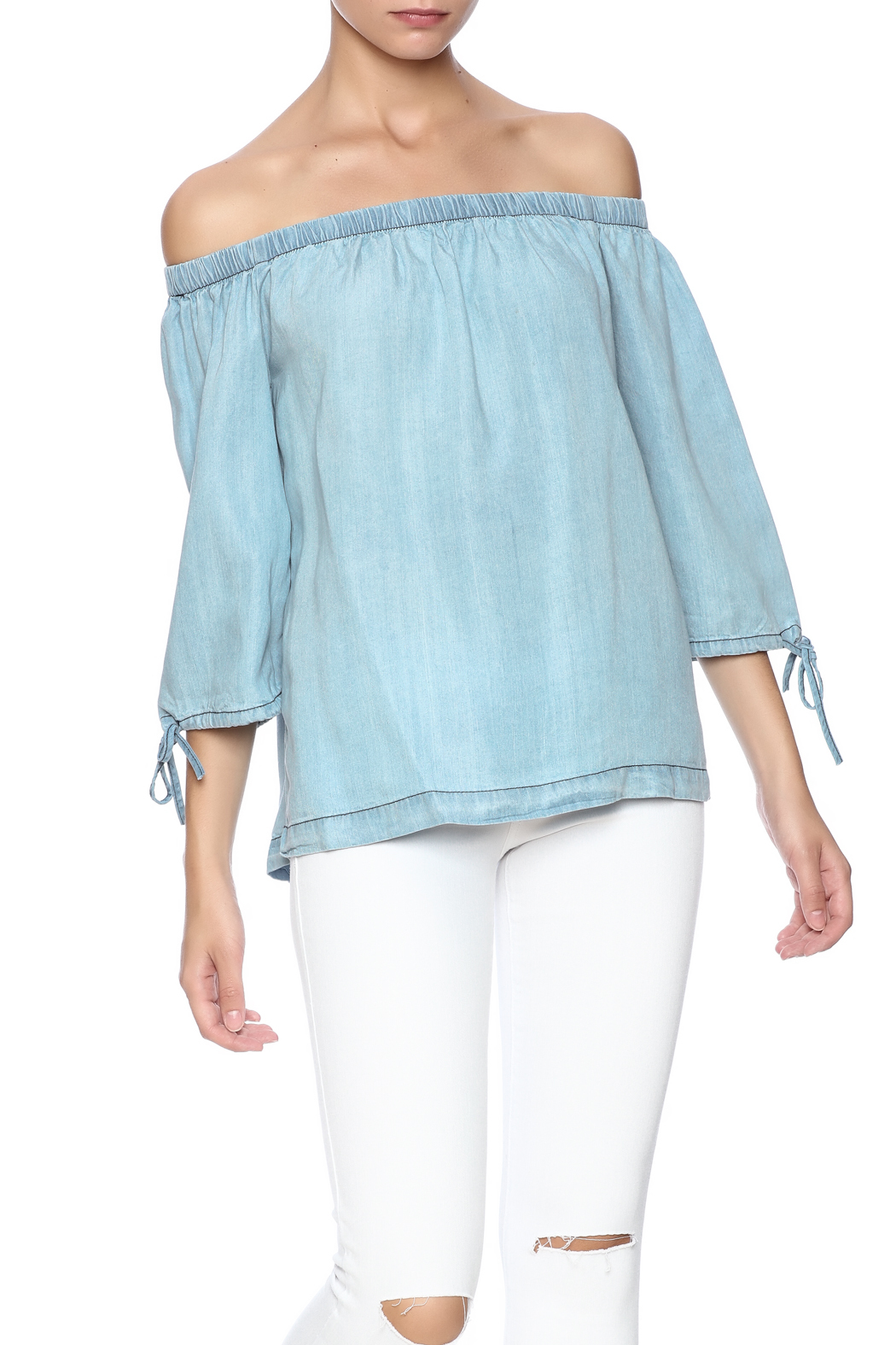 61d84335715b41 Sans Souci Chambray Off Shoulder Top from California by YUNI ...