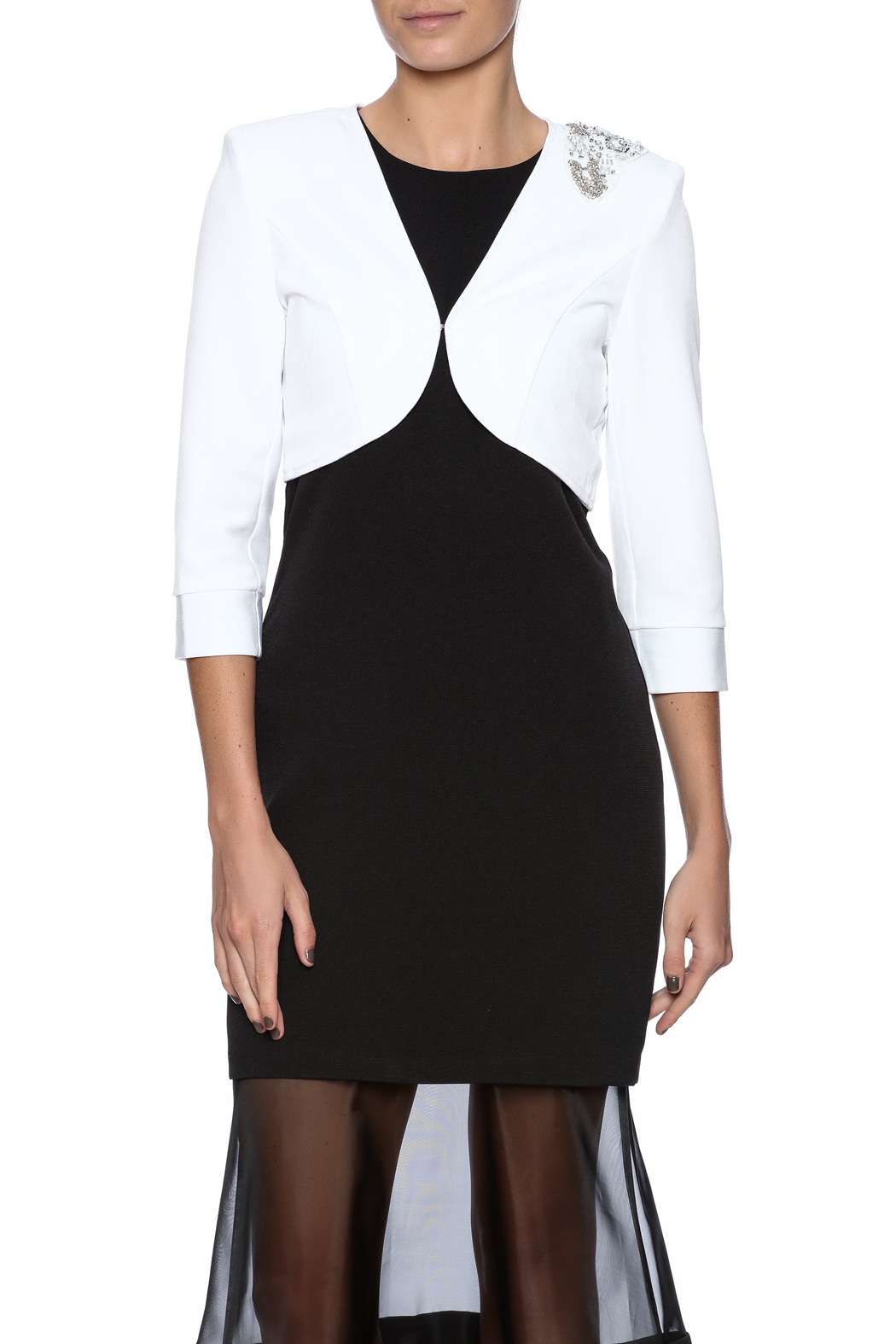 Sans Souci White Jeweled Blazer - Main Image