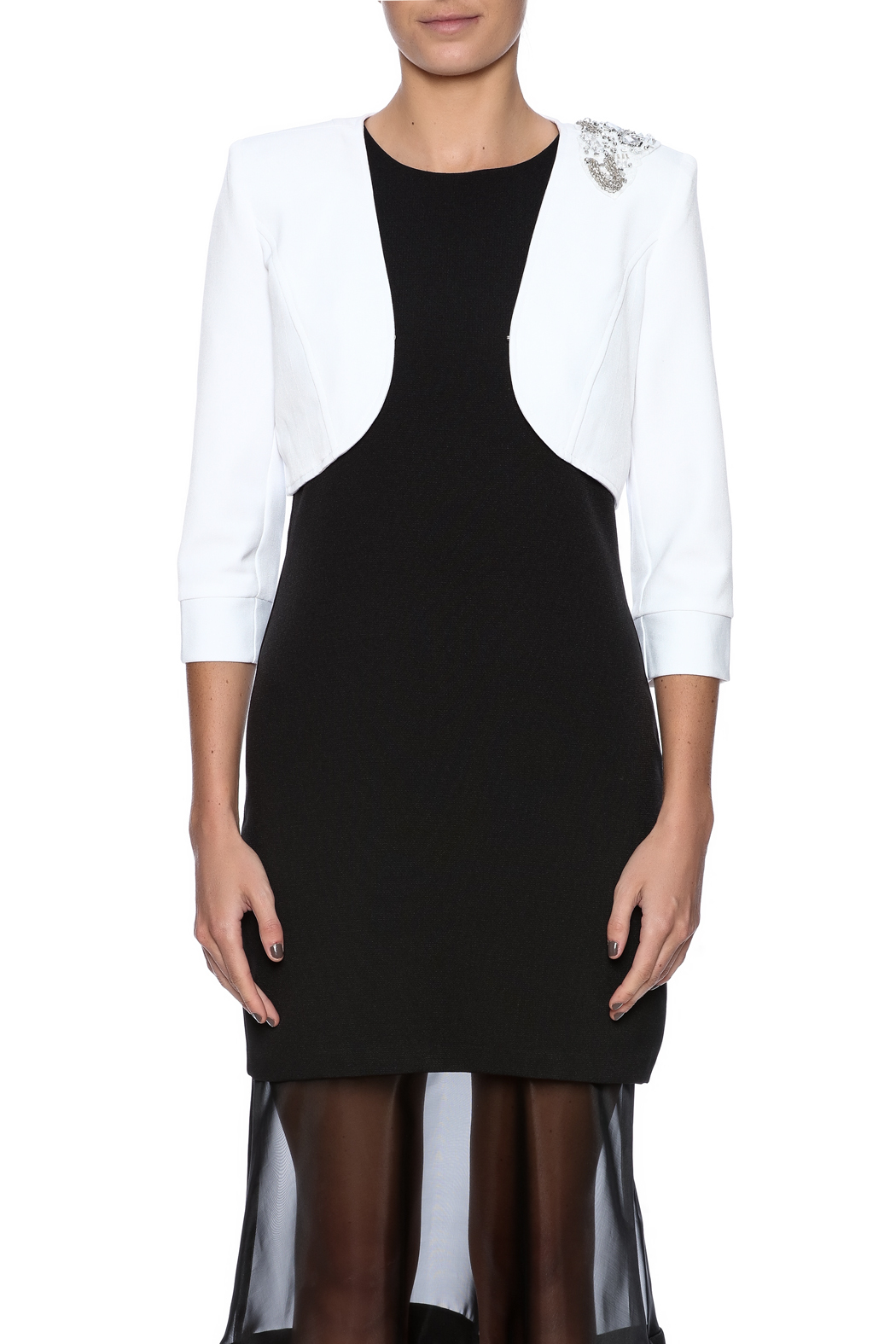 Sans Souci White Jeweled Blazer - Side Cropped Image