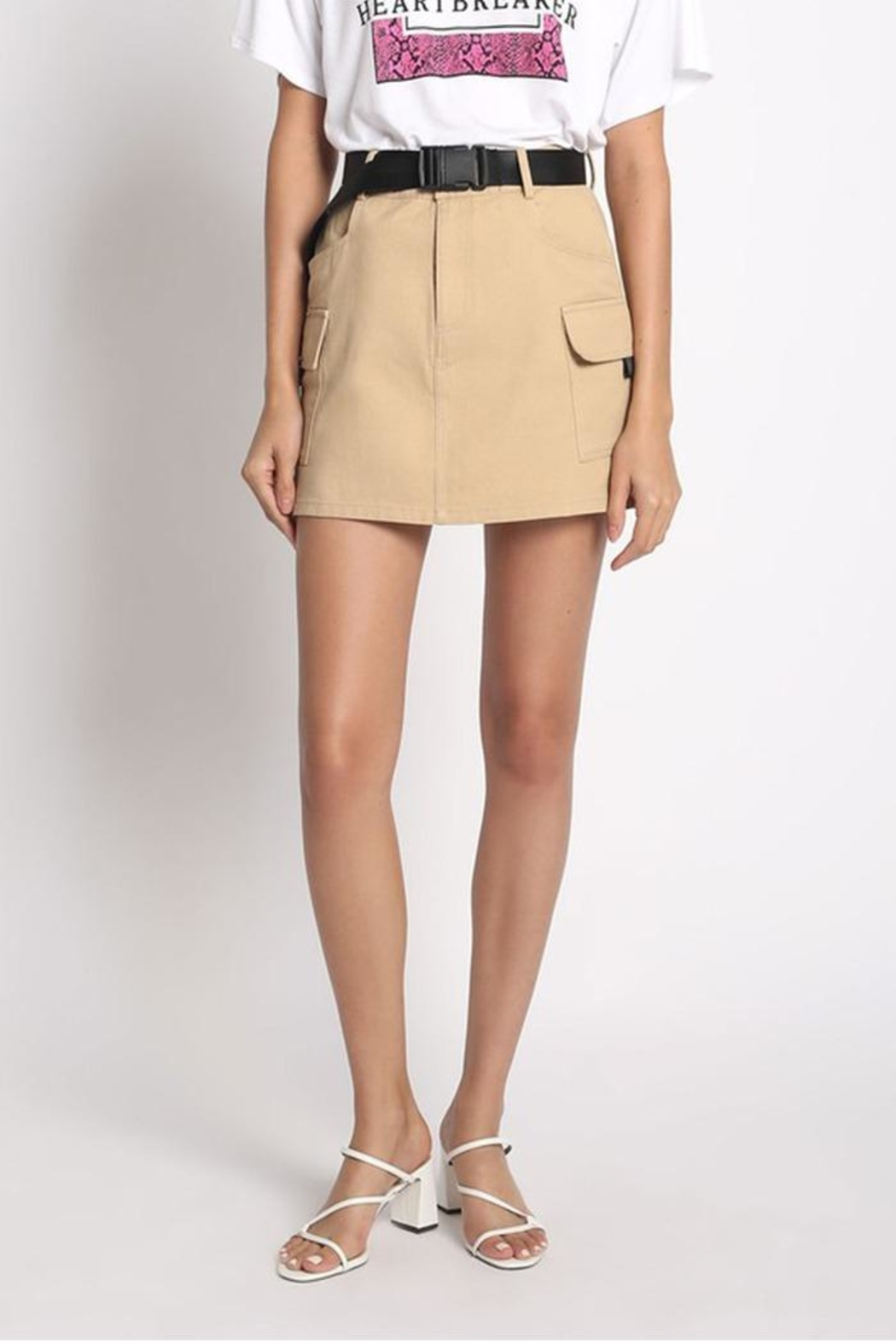 Sans Souci Belted Mini Skirt - Front Cropped Image