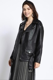 1930s Style Coats, Jackets | Art Deco Outerwear Black Leather Jacket $59.99 AT vintagedancer.com