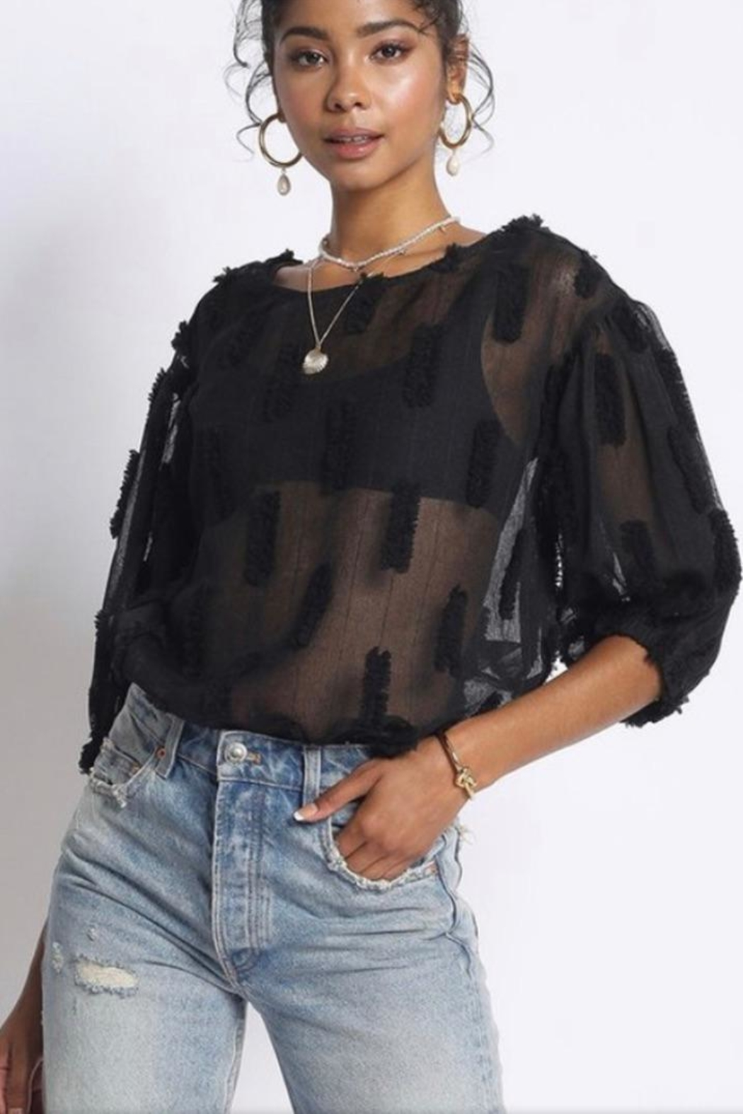 Sans Souci Black Sheer Top - Front Cropped Image
