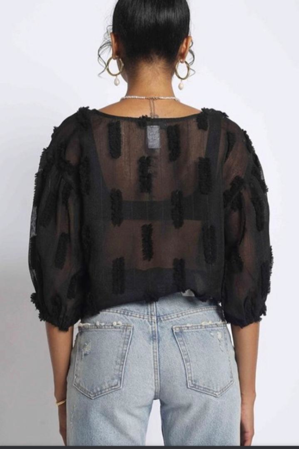 Sans Souci Black Sheer Top - Side Cropped Image