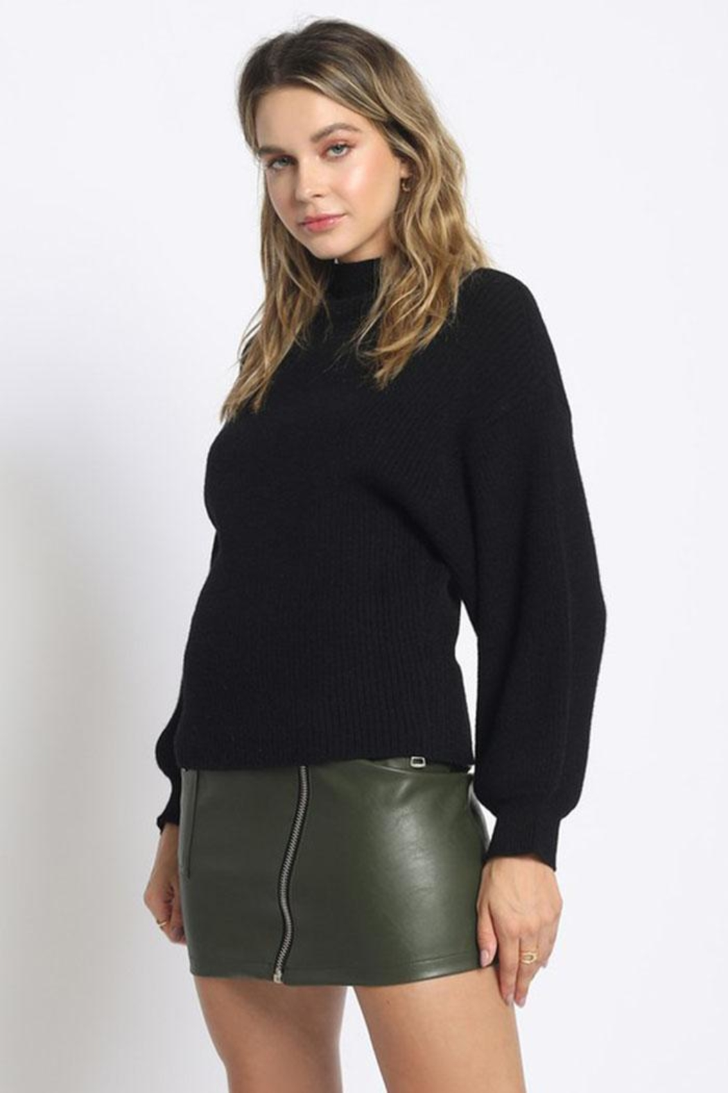 Sans Souci Mock Neck Sweater - Front Cropped Image