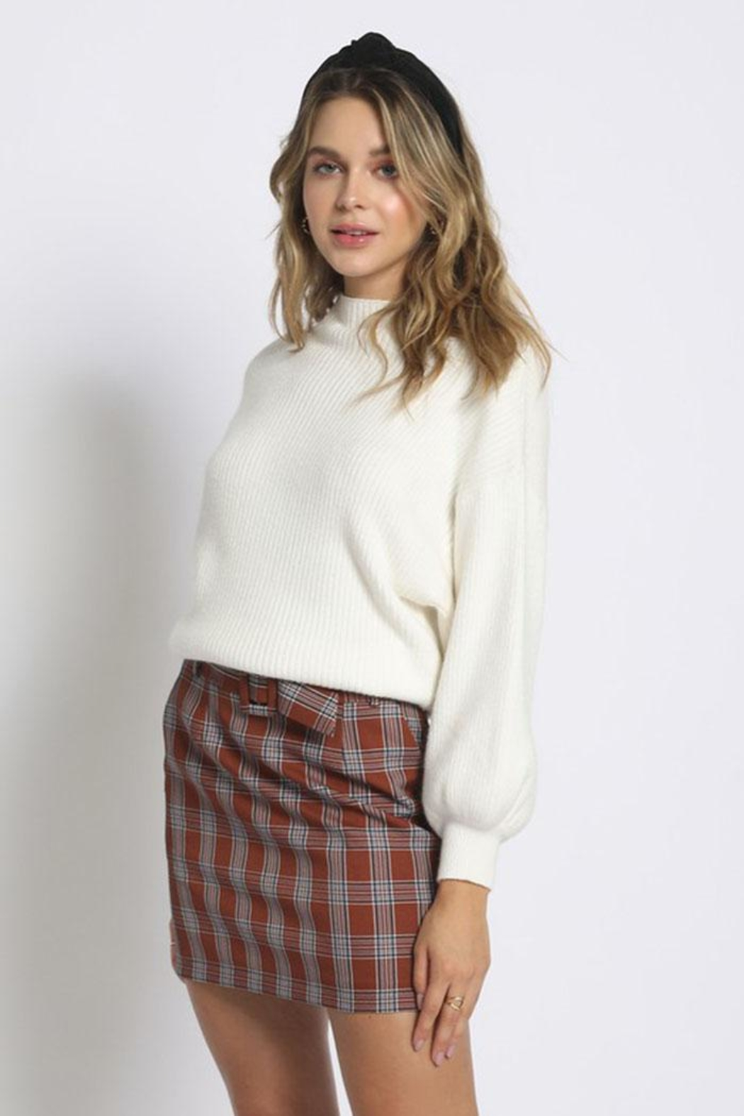 Sans Souci Mock Neck Sweater - Back Cropped Image
