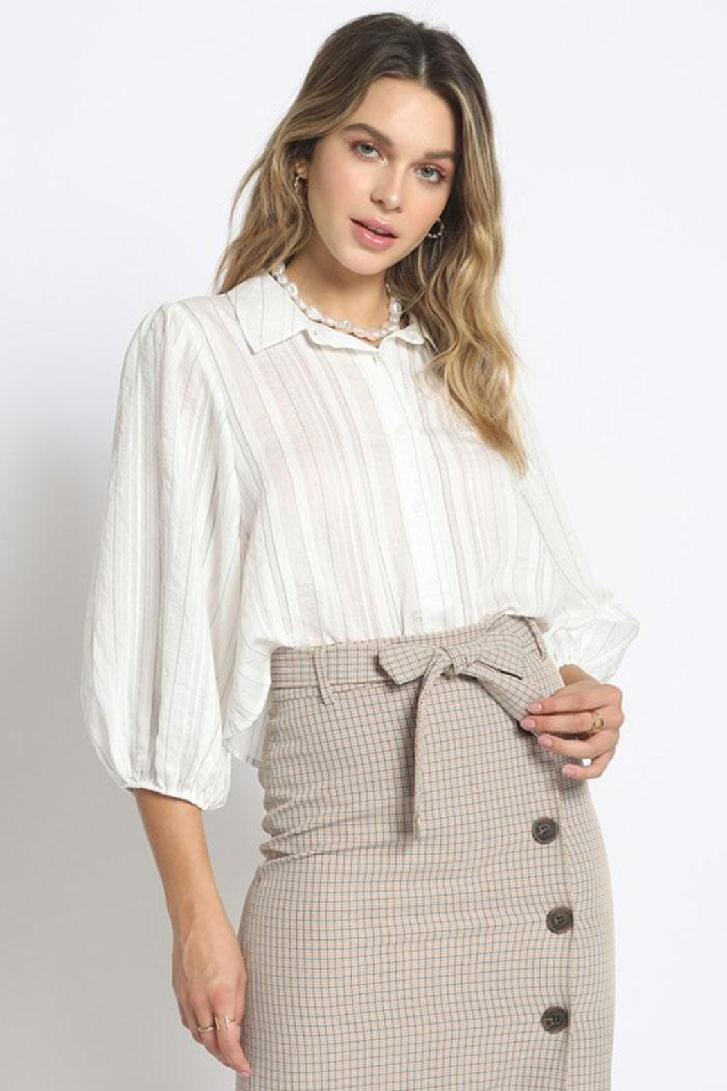 Sans Souci Sheer Striped Blouse - Main Image