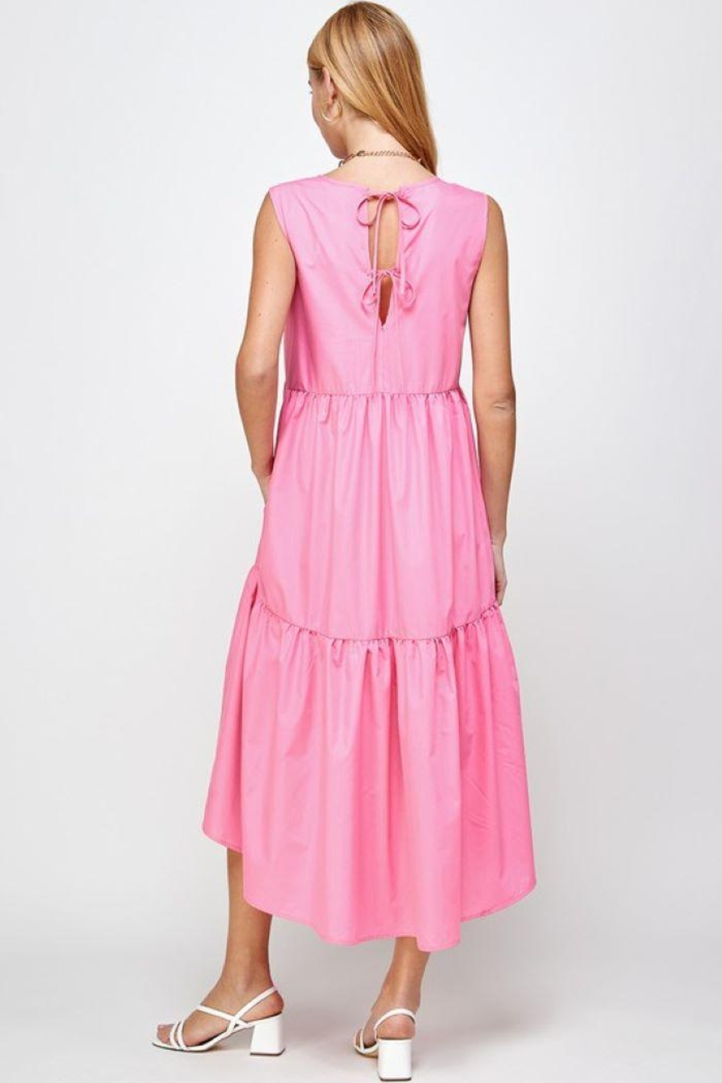 Sans Souci Sleeveless Tiered Poplin Dress - Side Cropped Image
