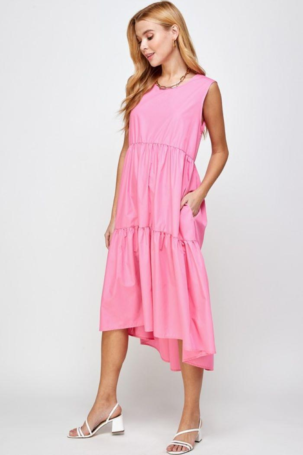 Sans Souci Sleeveless Tiered Poplin Dress - Back Cropped Image