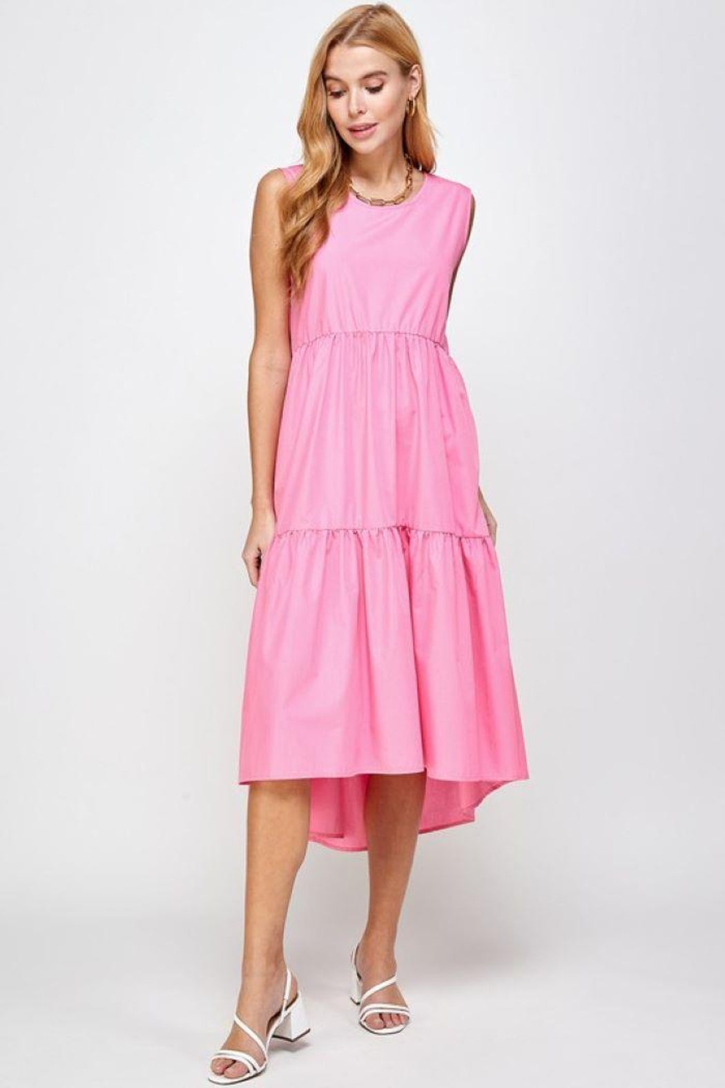 Sans Souci Sleeveless Tiered Poplin Dress - Main Image