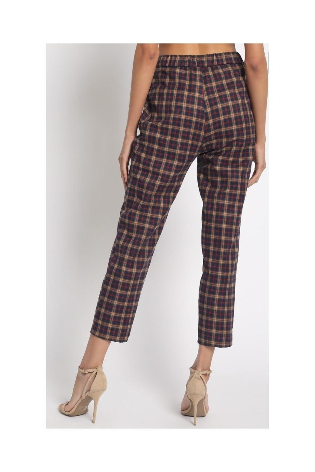 Sans Souci Slim Plaid Pants - Front Full Image