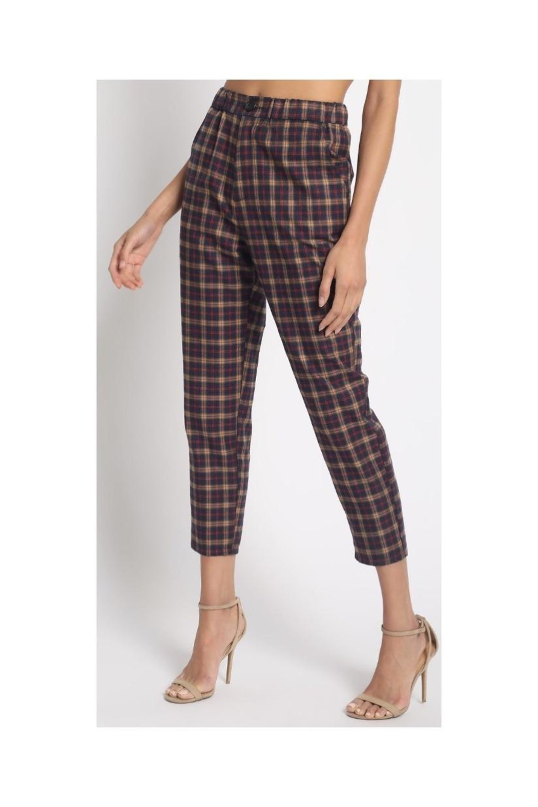 Sans Souci Slim Plaid Pants - Main Image