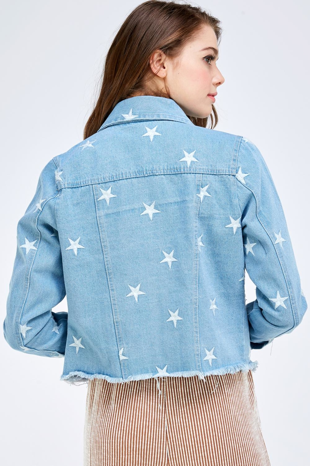 Sans Souci Star Denim Jacket - Back Cropped Image