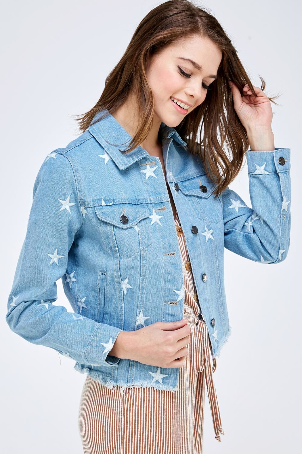 Sans Souci Star Denim Jacket - Front Full Image