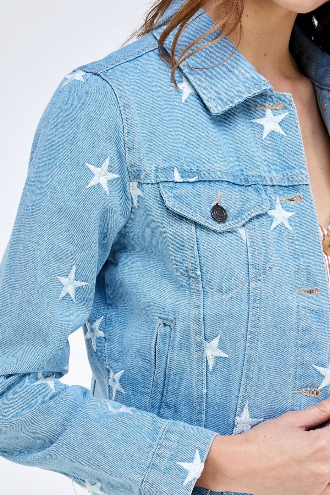 Sans Souci Star Denim Jacket - Side Cropped Image