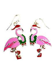 Petunias of Naples Santa Flamingo Earrings - Product Mini Image