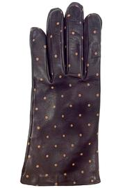Santacana Madrid Brown Dots Leather Glove - Front cropped