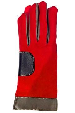 Shoptiques Product: Red Colorblock Leather Glove