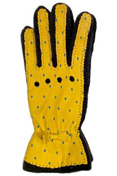 Shoptiques Product: Yellow Dots Leather Glove