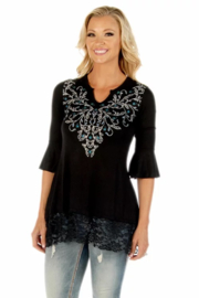 Liberty Wear Sapphire Embroidered Tunic - Front cropped
