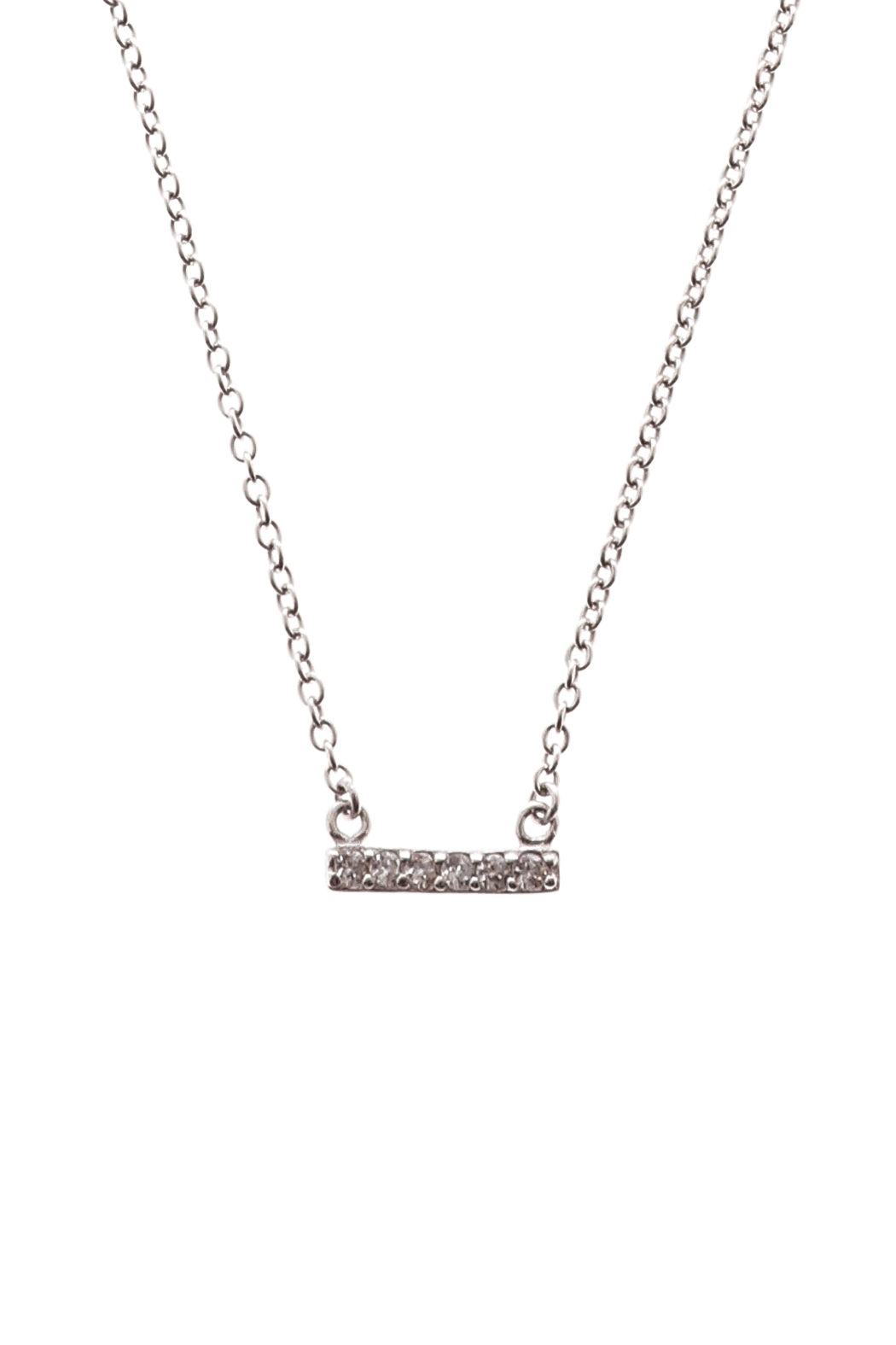 Sapphire Sky private label Silver Chain & Pave Bar Necklace - Main Image