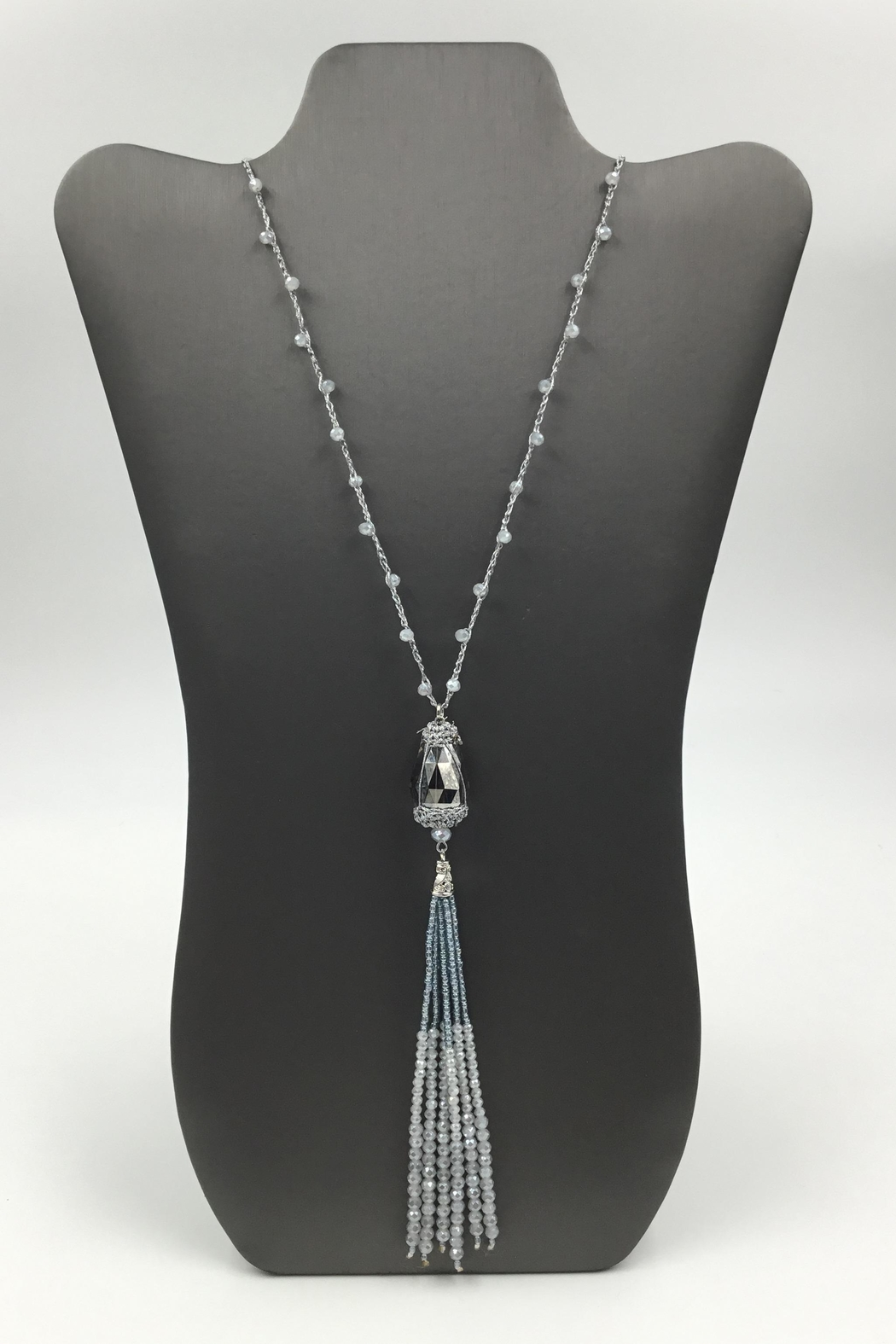 Sapphire Sky private label Grey-Bead Tassel Necklace - Main Image