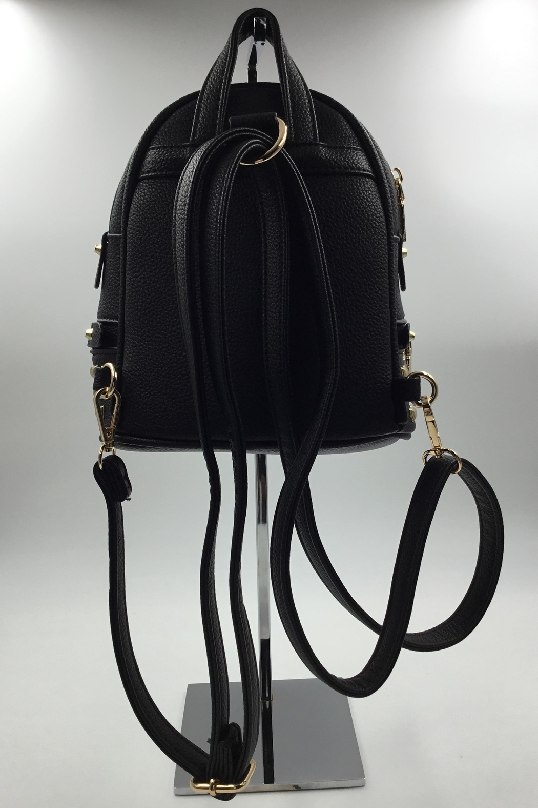 Sapphire Sky private label Vegan Black-Leather Mini-Backpack - Front Full Image