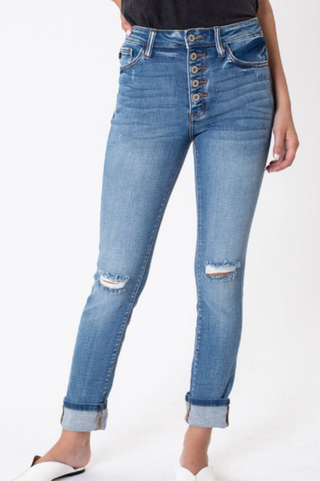 Kan Can Sarah High Rise Button Fly Jeans - Main Image